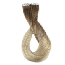 Full Shine 40 Pcs 100g Color #8 Ash Brown Fading to #60 Plautinum Blonde Ombre Extensions 100% Remy Tape In Hair Extensions(China)