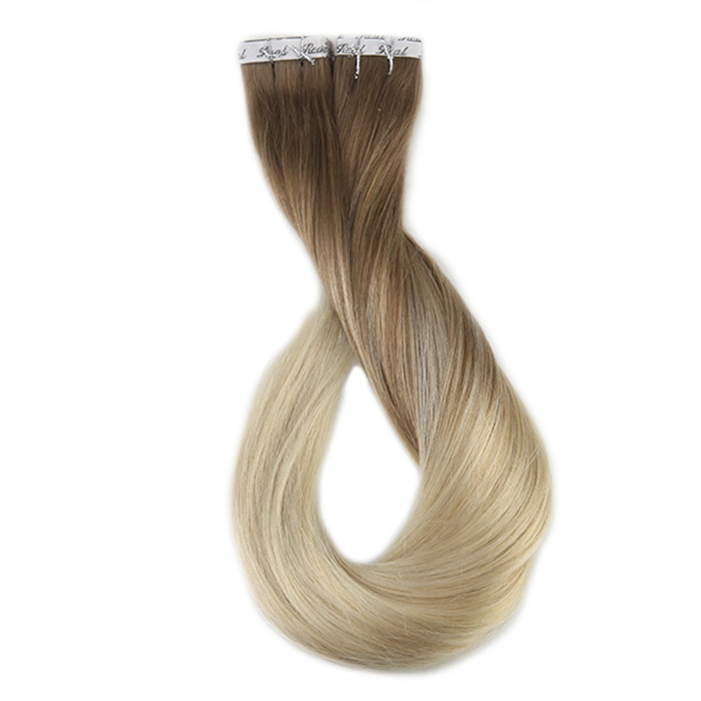 Full Shine 50g Color #8 Ash Brown Fading To #60 Plautinum Blonde Ombre 100% Human Hair Tape In Hair Extensions Machine Made Remy