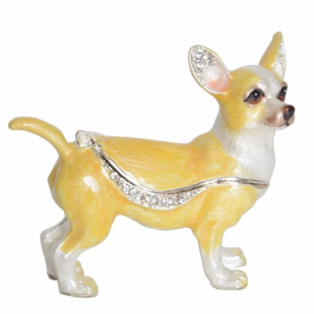 Antique Trinket Box with Dog Figurine