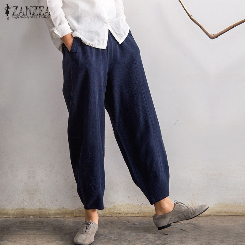 ZANZEA Frauen Hosen 2018 Sommer Überdimensioniert Pluderhosen Beiläufige Lose Taschen Solide Baumwolle Hosen Pantalon Femme Plus Größe