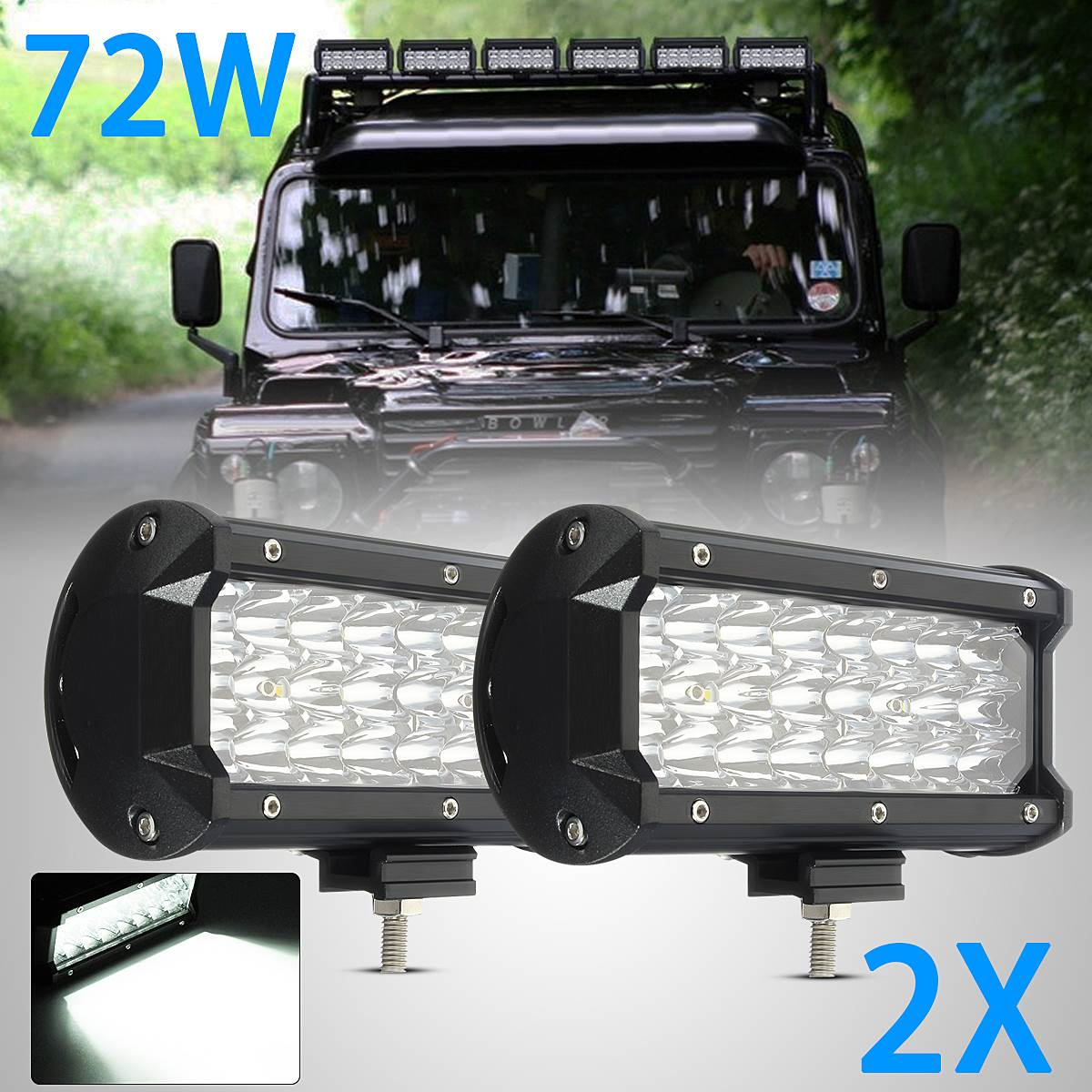 2X 12Inch 72W 24LED Car light Led Lamp Spotlight Work Lihgt for off-road vehicles, trucks, motorcycles, automobiles 9-32V