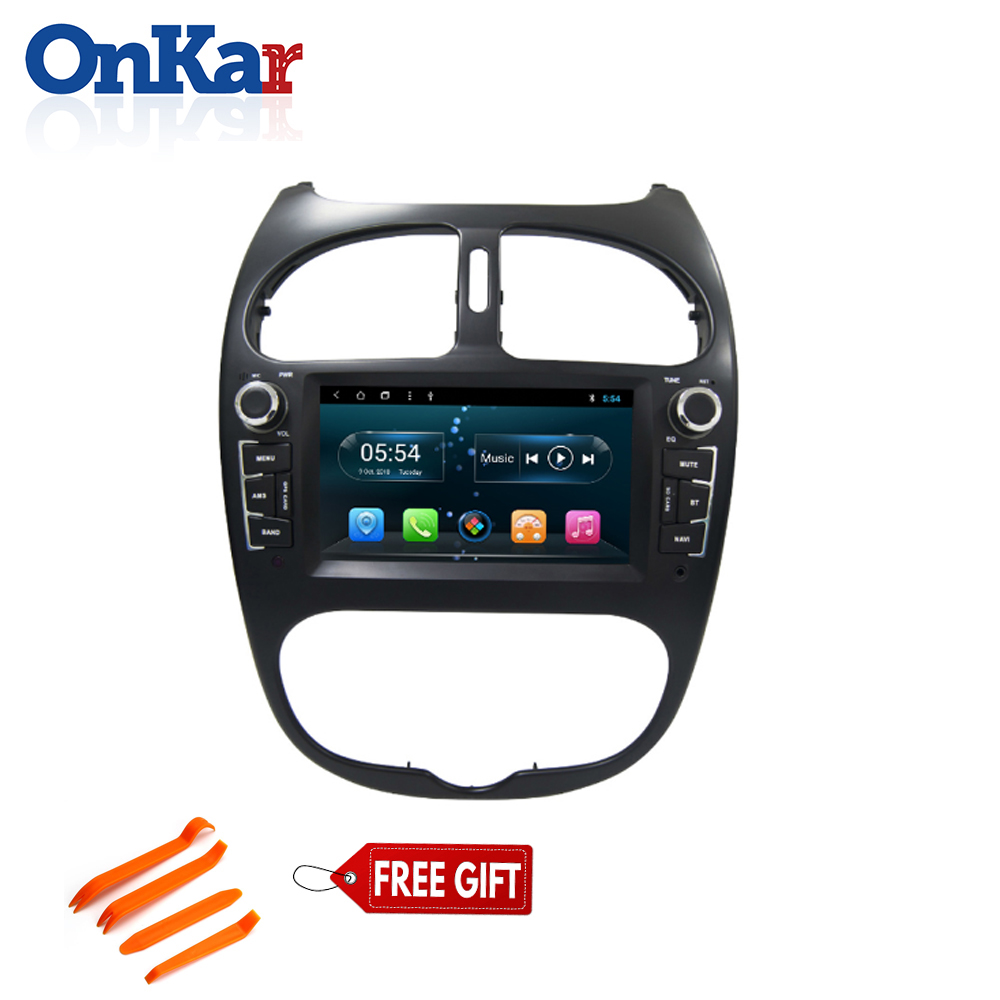 ONKAR New Android 8.1 car dvd cd gps navgation system for <font><b>Peugeot</b></font> <font><b>206</b></font> 2000-2009 with 6.<font><b>2</b></font> inch touch screen wifi bluetoth radio image