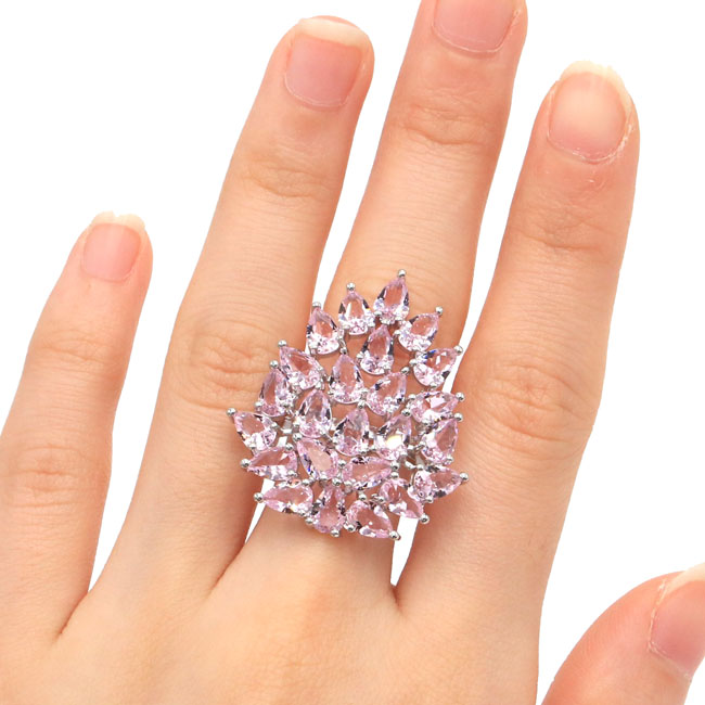 US sz 8.0# 2018 New Arrival Pink Kunzite Valentine's Day Gift 925 Silver Ring 34x30mm