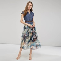 Women Boho Dresses Summer Short Sleeve Denim Chiffon Patchwork Floral Print Beach Vintage Fashion Women's Casual Long Dress