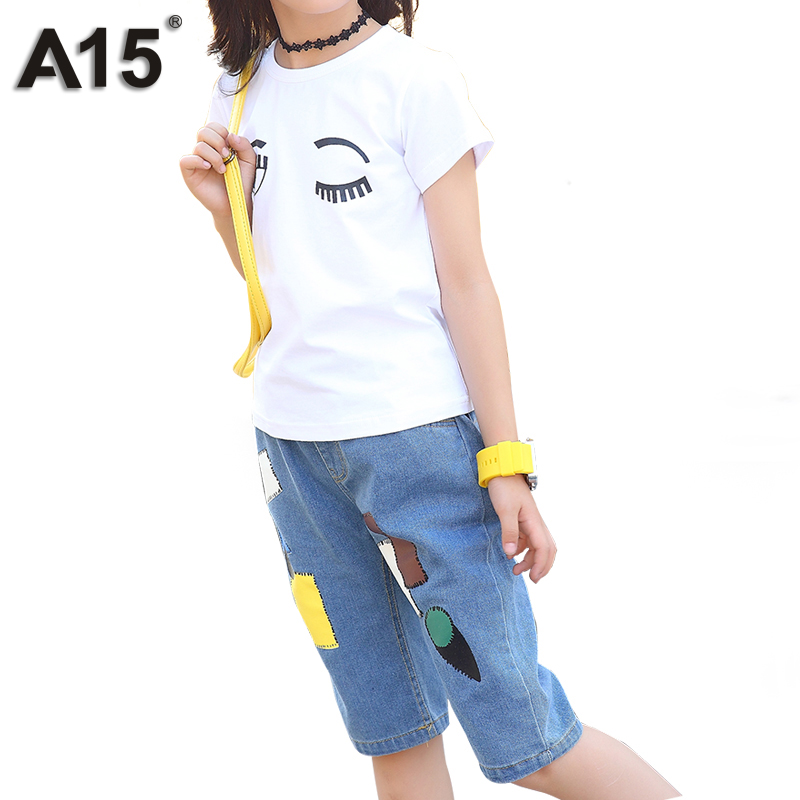 A15 Children Clothes Set 2018 Summer Girls Clothing Sets White T-Shirt+ Jeans Pants 2 pc Kids Clothing Sets Age 4 6 8 10 12 Year