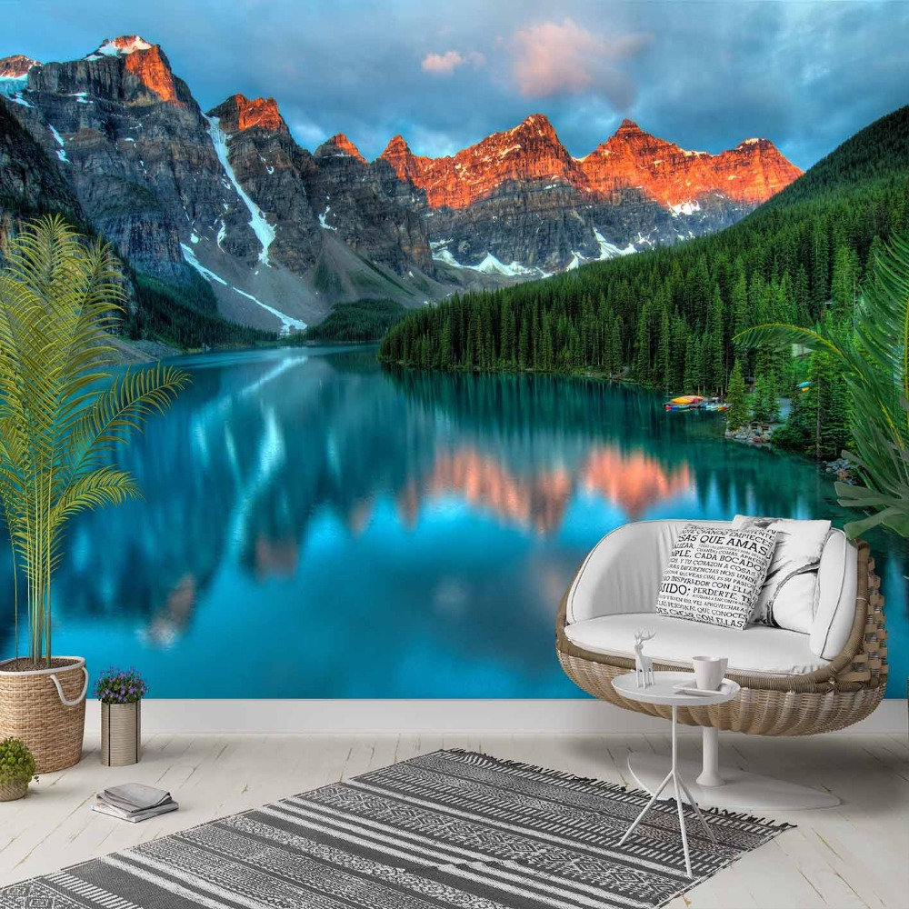 Else Night Sun Set Green Mountain Blue Lake 3d Photo Cleanable Fabric Mural Home Decor Living Room Bedroom Background Wallpaper