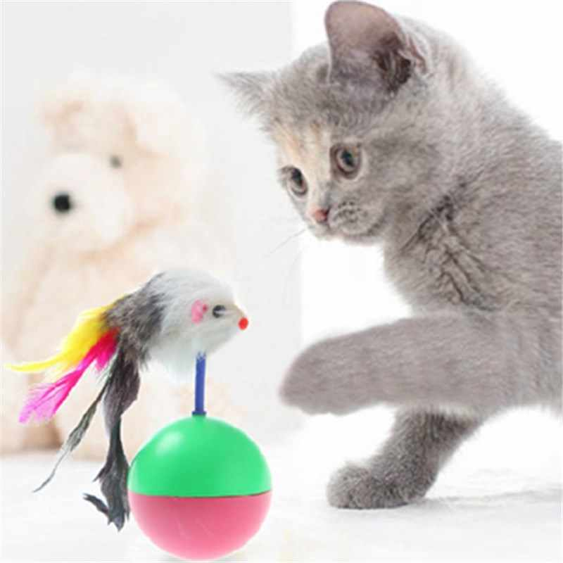Cat Toy Mouse Tumbler Durable Pet Mimi Favorite Fur Plastic Rubber Cony Hair Toys Balls For Cats Dogs Play Indoor 5.5cm Length