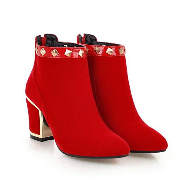 Redonda Negro De Calientes Las Mujeres Nuevo rojo Talón Invierno Suede Del 2019 Mujer Zapatos Más Mediados Botines Botas Cabeza Mm21 Tachonado zxaHA