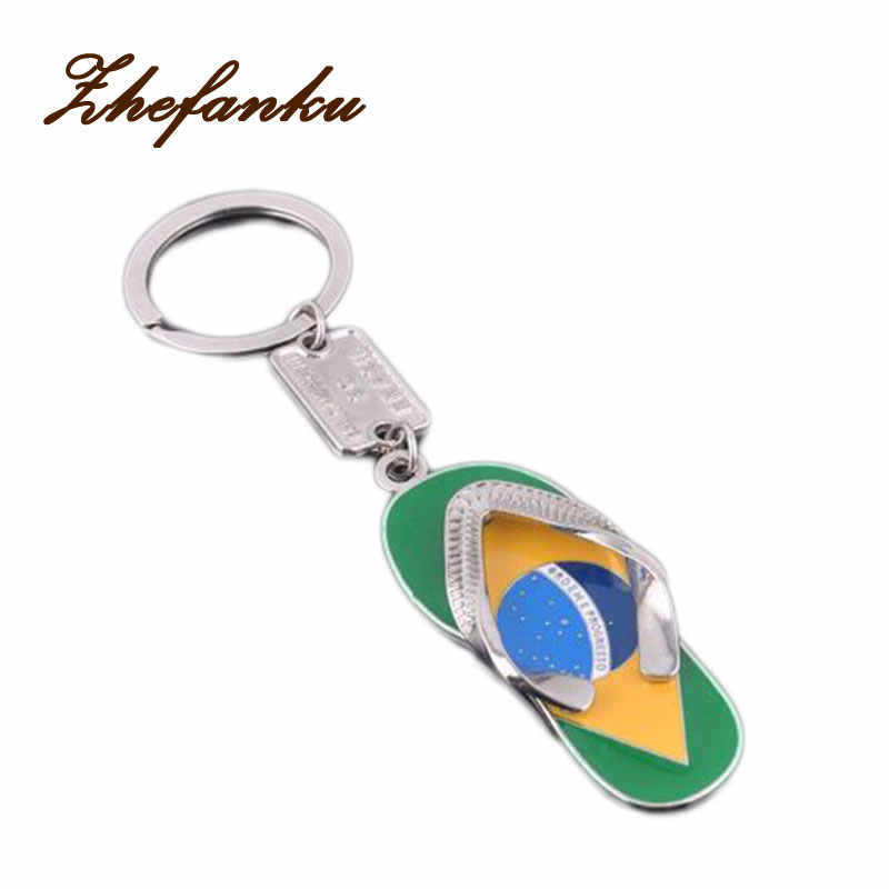2017 Dream Brazil Flag Slippers Keychains Charm Car Key Chain Ring Accessories Pendant For Men Women Fashion Jewelry Gift