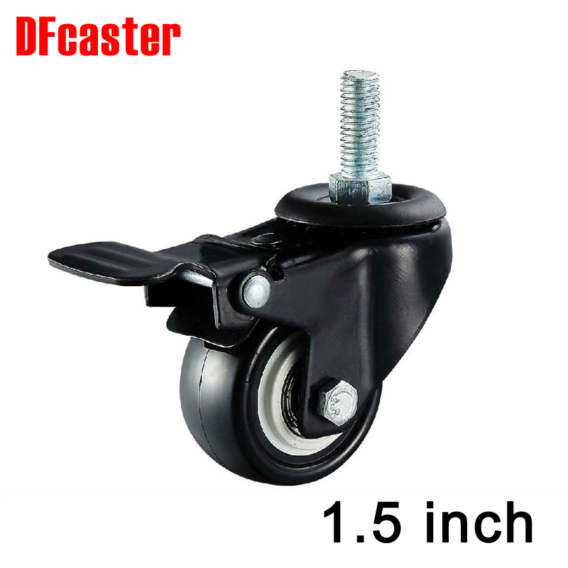 M10 Screw 360 Degree Casters With Brake caster 40mm( 1.5 )1.5 inch Universal Caster Double bearing PU Wheels Furniture wheel free shipping 1 5 inch screw universal wheel black rubber wheels m8 25mm round table furniture mute screw bookcase foot wheel