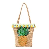 Handmade Tassel Summer Straw Handbags Women Sequin Pineapple Beach Bag Woven Shoulder Bags Basket Party Market