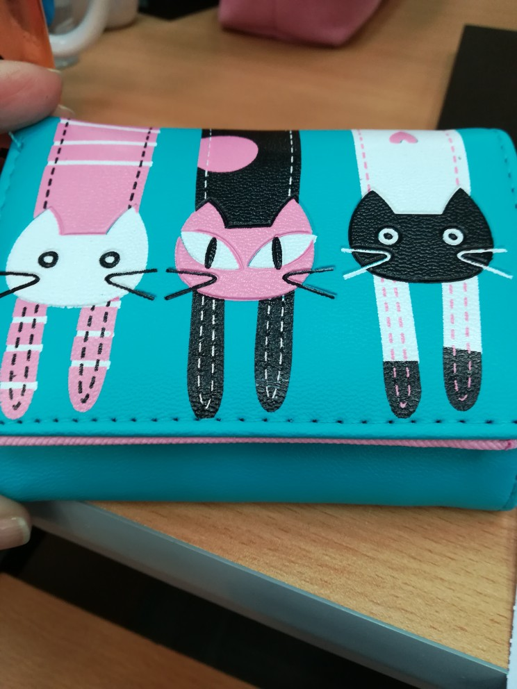 Xiniu Women Ladies Girls Cat Pattern Coin Purse Short Wallet Card Holders Lovely Cat Print photo review