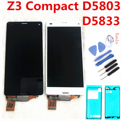 Original LCD For SONY Xperia Z3 Compact Display Touch Screen Z3 MINI D5803 D5833 Replacement for SONY XPERIA Z3 COMPACT LCD