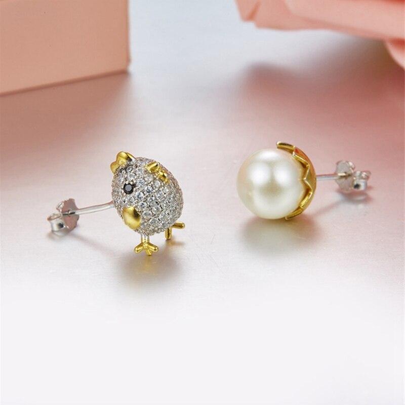 Amour réel S925 en argent Sterling poussin oeuf coquille perle oreille femmes asymétrie Bijoux Femme Bijoux or boucles d'oreilles en gros meilleur