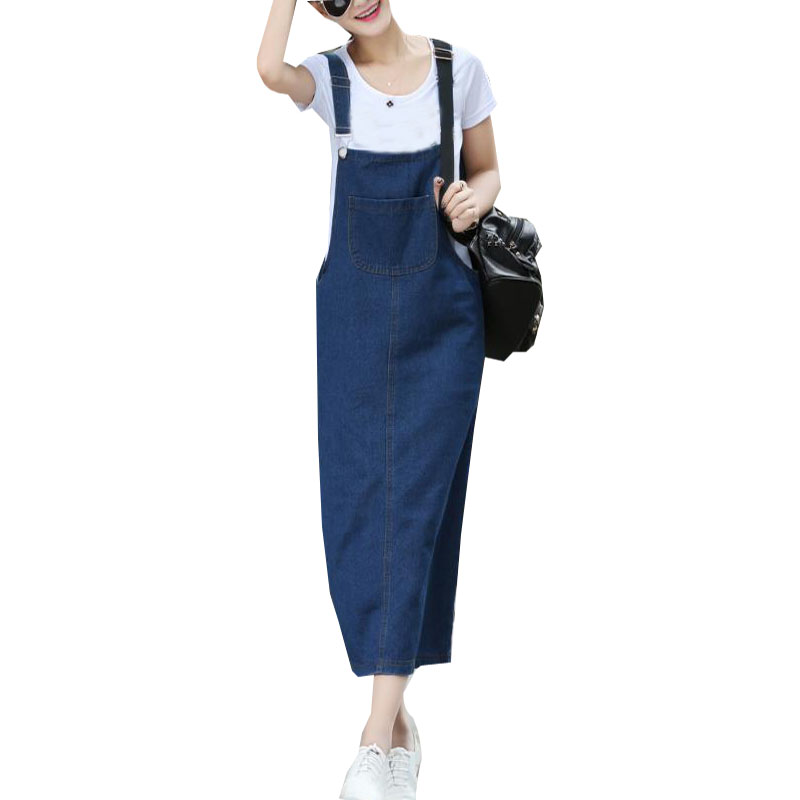 Summer Womens Sleeveless Denim Strap Jeans Dress Female Casual Party Slim Split Pockets Vestido Dungarees Sundress 2018