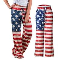 Women's Star Stripe American Flag Patriotic July 4th Drawstring Loose Leg Pants