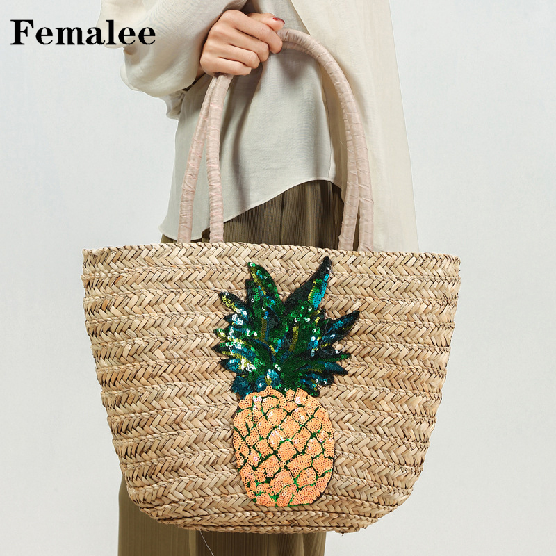 FEMALEE Pineapple Sequins Fashion Hobos Women Knited Handmade Hand Tote Basket Handbag Pastoral INS New Braided Top-Handle Bags