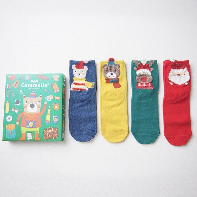 """Комплект носков Новогодний """"медведь путешественник"""", 4 пары"""