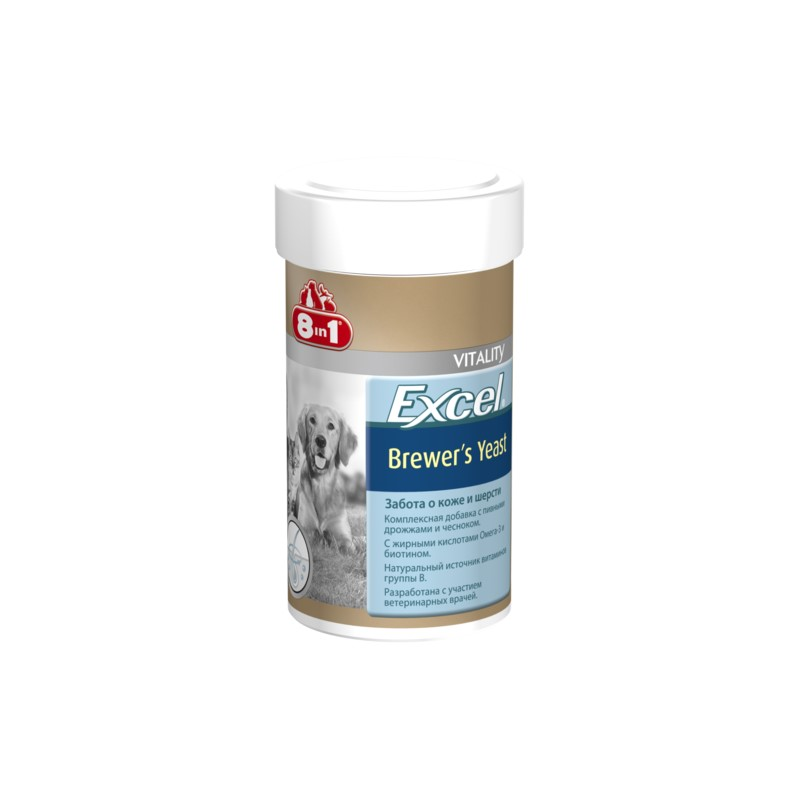 Cats vitamins 8in1 Excel Brewer's yeast for cats and dogs 140 tab. vitality excel brewers yeast для кошек