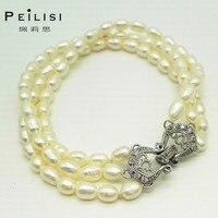 925 כסף סטרלינג Peilisi צורה אורז שלושה סיבובים פרל תכשיטים לנשים