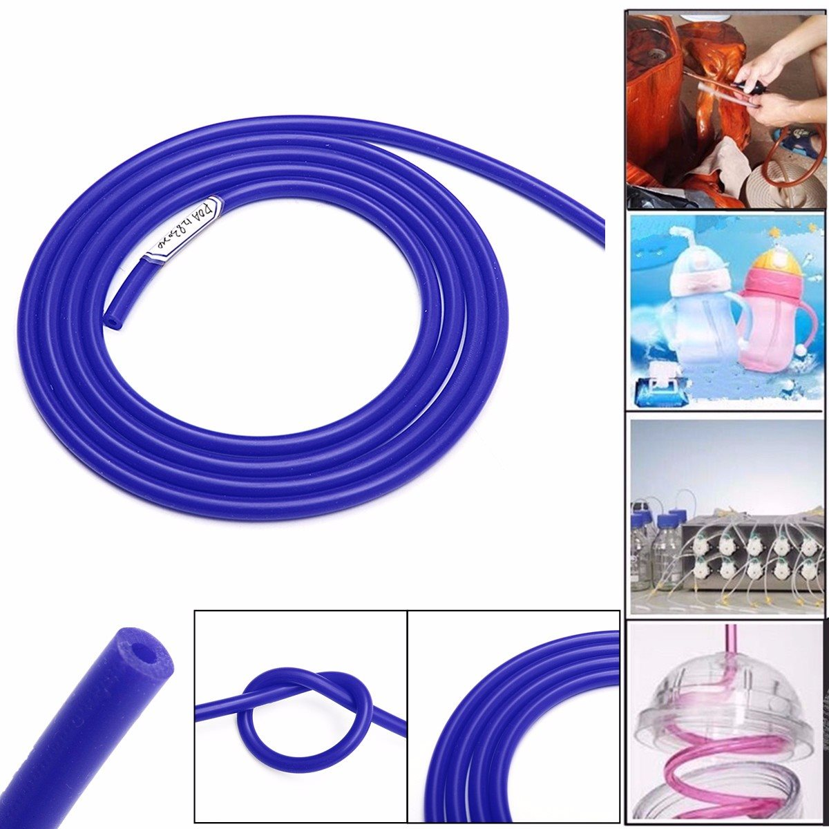 2m Blue Silicone Tube Vacuum Hoses Tube Rubber Air Water Coolant Hose Clips