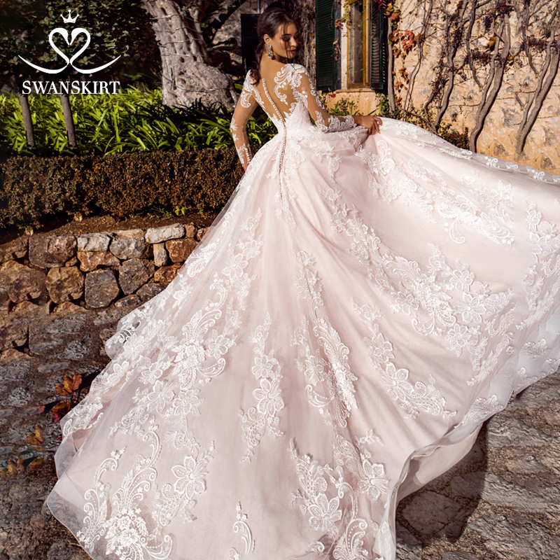 Swanskirt Sweetheart Wedding Dress 2019 Appliques Long Sleeve A-line Court Train Bridal Gown Customized Robe De Mariage K182