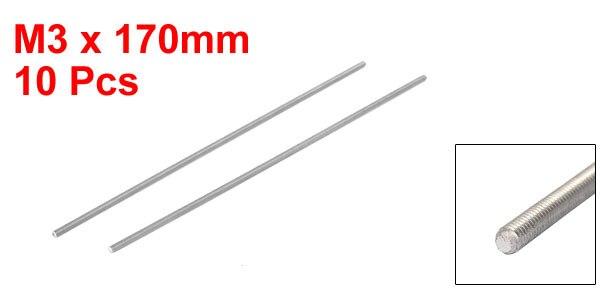 M3X170mm 05mm Pas Acier Inoxydable 304 Tige Entièrement Filetée Ton Argent 10Pcs