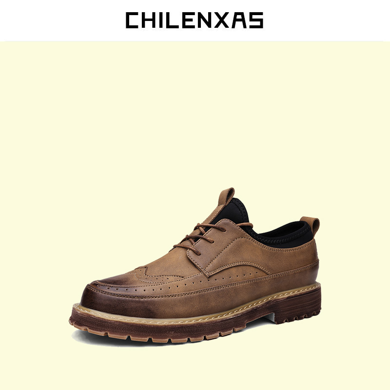 CHILENXAS 2017 New Fashion Spring Autumn Leather Shoes Men Casual  Lace up Breathable Comfortable Height Increasing Waterproof spring autumn new men driving shoes fashion breathable leather casual shoes korean version lace up rubber men shoes z180