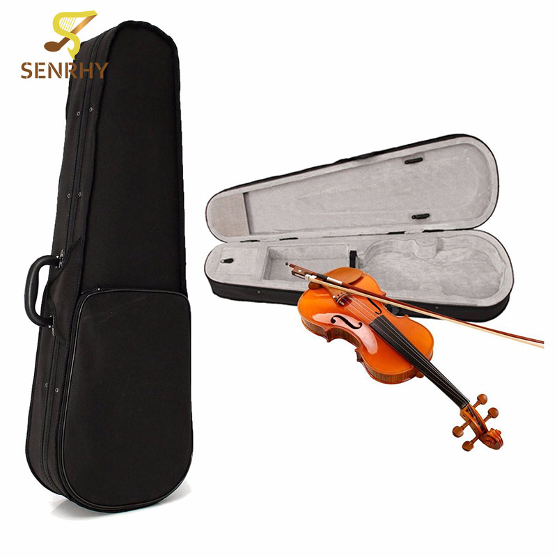 SENRHY Black Cloth Fluff Violin Case Bag Double-shoulder Back Protective For 4/4 Violin Full Size Triangle Acoustic Shape Violin handmade new solid maple wood brown acoustic violin violino 4 4 electric violin case bow included
