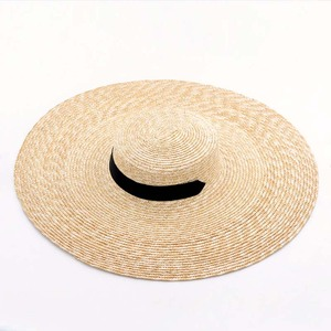 Image 3 - Elegancki naturalny 18cm duży słomkowy kapelusz z sznurowanym szerokim rondem Kentucky Derby kobiet kapelusz wstążka dziewczyna lato ochrona przed słońcem kapelusz plażowy