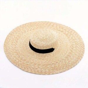 Image 3 - Elegant ธรรมชาติ 18 ซม.ฟางหมวกลูกไม้กว้าง Brim Kentucky DERBY หมวกผู้หญิงริบบิ้นสาวฤดูร้อน Sun หมวกชายหาด