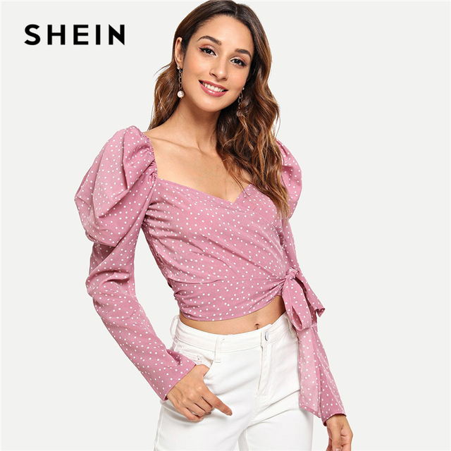 1158be5d9e SHEIN Pink Vacation Boho Bohemian Beach Knot Polka Dot Print Leg-of-mutton  Sleeve Blouse Autumn Holiday Women Tops And Blouses