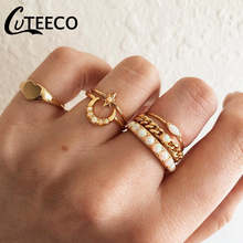 CUTEECO Vintage Gold Color Knuckle Rings Set For Women Geometric Moon Heart Opal Finger Ring Female Fashion Jewelry Wholesale