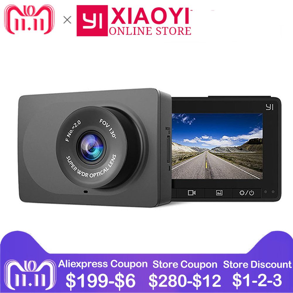 Xiaomi YI Compact Dash Camera 1080P Full HD Car Dashboard Camera G-Sensor 2.7 Inch LCD Screen 130 WDR Lens Car DVR Built in Wifi xiaomi yi smart car dvr 1080p 160 wifi 240mah for android