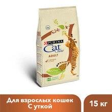 Сухой корм Cat Chow для взрослых кошек с уткой, 15 кг