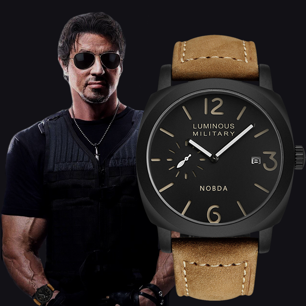 NOBDA Fashion Brand Leather Strap Casual Men Watches Brown Army Military Quartz Watch Men Wrist-Watch Clock relogio masculino weide new men quartz casual watch army military sports watch waterproof back light men watches alarm clock multiple time zone