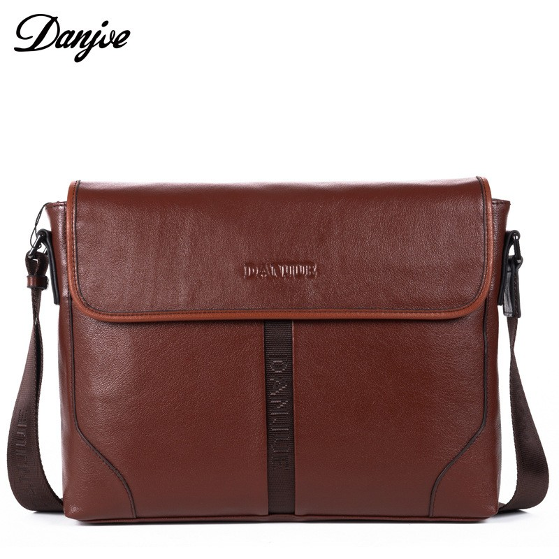 DANJUE High Quality Genuine Cow Leather Man Shoulder Bags Soft Solid Color Men's Briefcase Fashion Business Laptop Messenger Bag 100% genuine leather backpack large capacity cow leather travel bags high quality business bag for man women vintage laptop bag