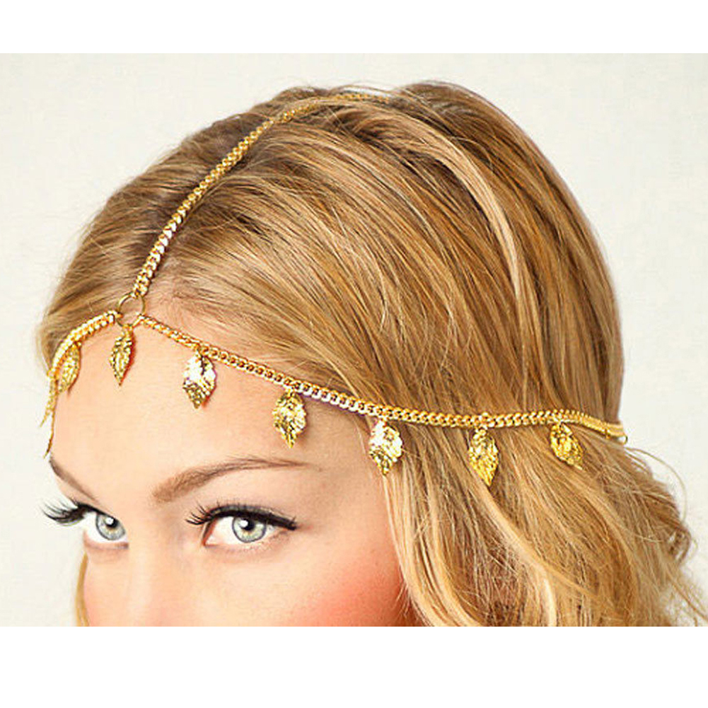Romantic Crown Indian Style Hair Jewelry Accessories Head Chain Bohemia Leaves Forehead Fringed Headband For Women