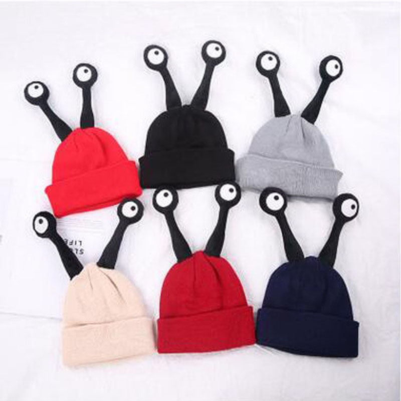Winter Children Warm Hat Wholesale Personality Eye Knitted Wool Beanie Fashion Skullies Casual Outdoor Ski Caps Thick Hats fibonacci winter hat knitted wool beanies skullies casual outdoor ski caps high quality thick solid warm hats for women
