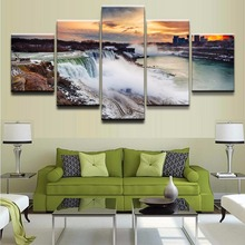 Modular Pictures One Set Canvas HD Printed Poster Wall Art 5 Pieces Waterfall Of Landscape Modern Decorative Home Living Room