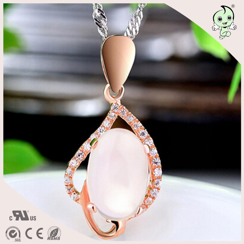 Popular and Elegant Natural S Rose Gold 925 Sterling Silver Water Drop Design Necklace Pendant natural fur beanie hat for women winter luxury fox fur top hat beanies thicken knitting lined female newest hats cap