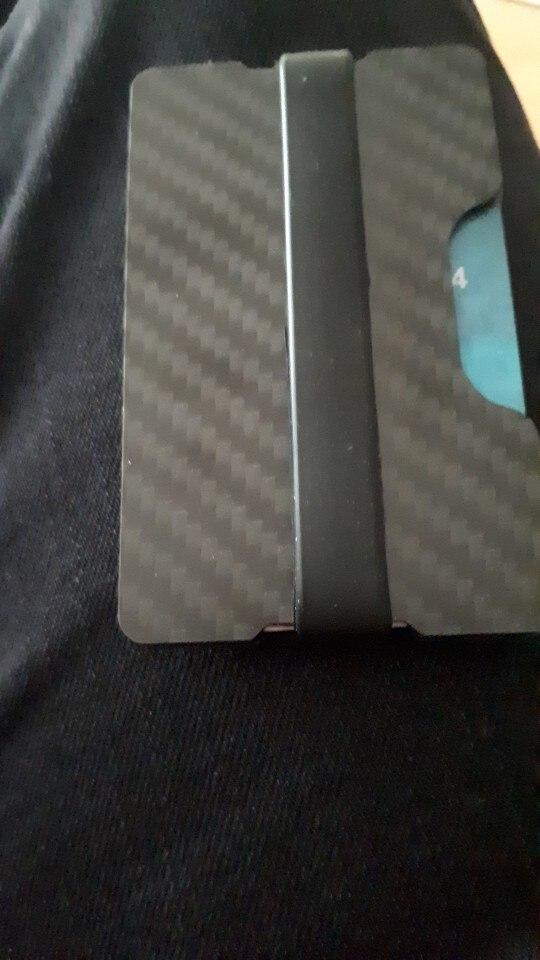 Minimalistische koolstofvezel portemonnee RFID-blokkeerkaarthouder Voorvak Ultralight kaarthouder Metal Fashion Travel-portefeuilles photo review