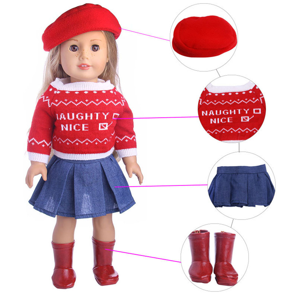 American Doll Clothes- Lot 4=Sweater + Hat+Denim skirt+Boot fit for 18 inch American Girl Doll Outfits
