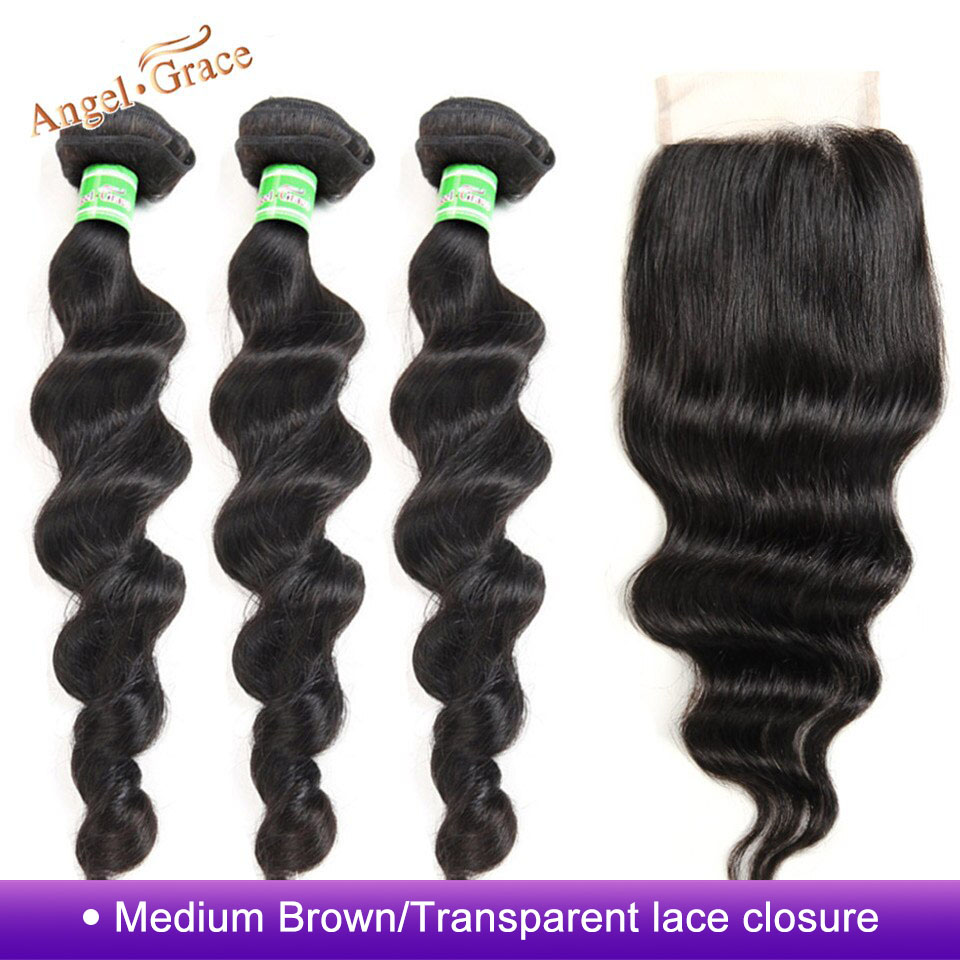 Brazilian Loose Deep Wave Bundles With Closure Remy Human Hair 3 Bundles With Closure Angel Grace