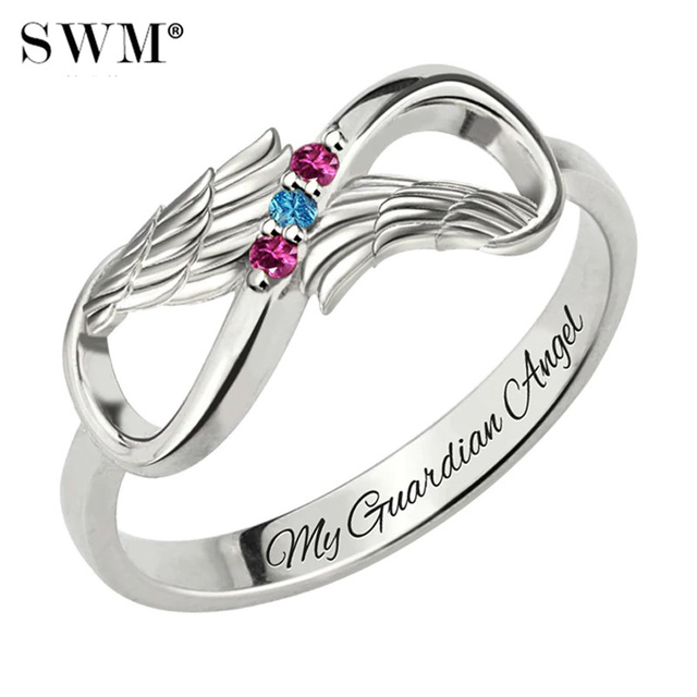 Custom Letter Rings With Birth Stone Costume Name Infinity Angel Wings Ring Silver 925 Engraved Jewellery Gift for Women Mom