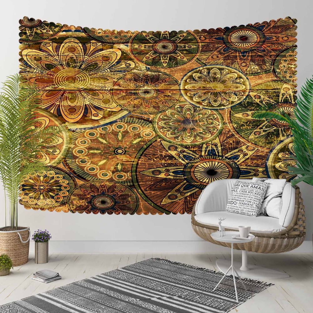 Else Yellow Black Turkish Ottoman Ethnic Vintage 3D Print Decorative Hippi Bohemian Wall Hanging Landscape Tapestry Wall Art
