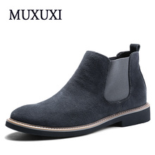 Горячие Продажа Мужская Обувь 2017 Весна Осень Кожаные Ботинки Мужские Oxfords Мода Модель Из Натуральной Кожи Сапоги