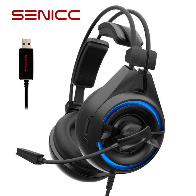 SENICC A6 pendrive za darmo z redukcją szumów słuchawki gamingowe latające skrzydło dla graczy Gamer zestaw słuchawkowy z mikrofonem LED słuchawki do komputera PC