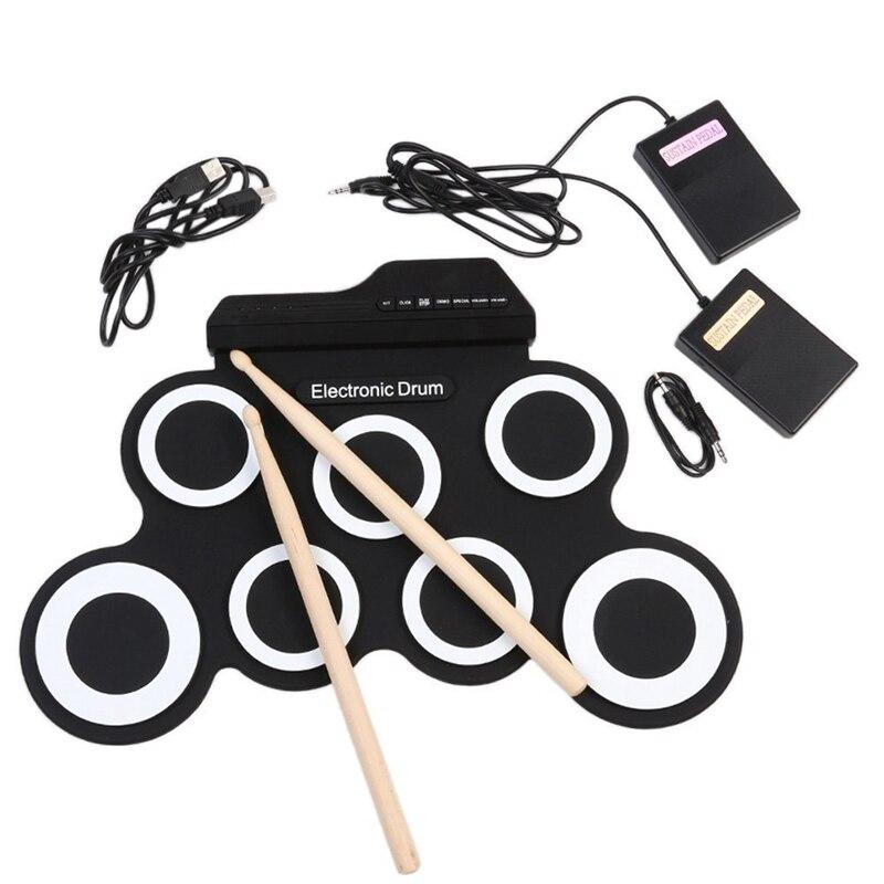2018 Compact Taille Portable Numérique Roll Électronique Jusqu'à Drum Set Kit 7 Silicon Pads USB Alimenté avec Pilons Pied pédales