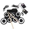2018 tamaño compacto portátil Digital electrónico rodillo Up juego de tambor 7 almohadillas de tambor de silicona USB con pie de batería los pedales
